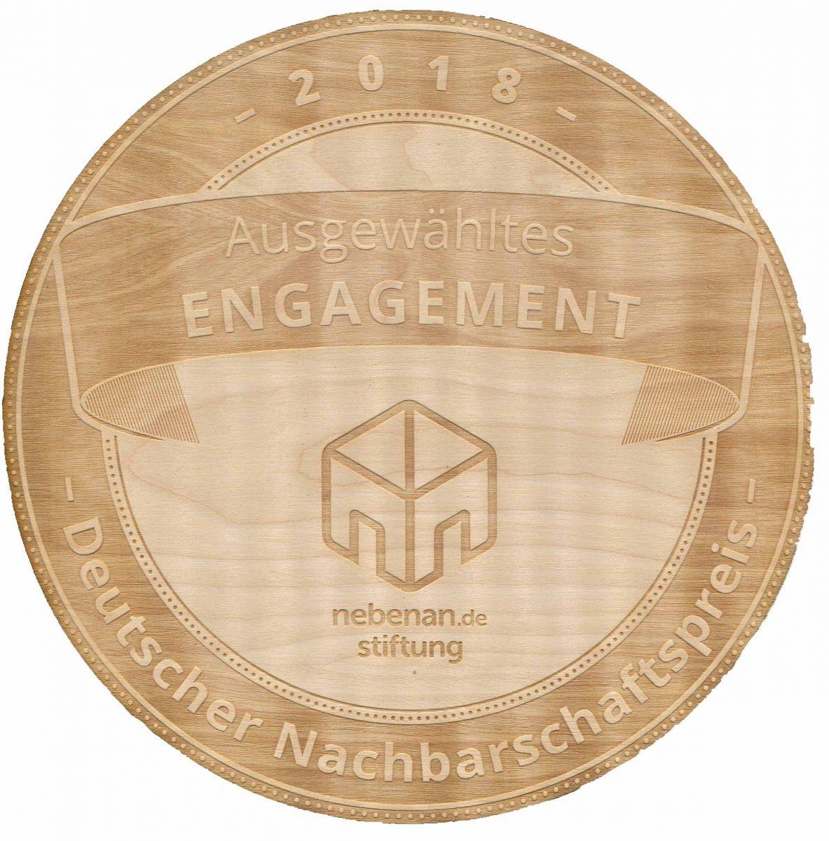 2018 Nachbarschaftspreis Plakette