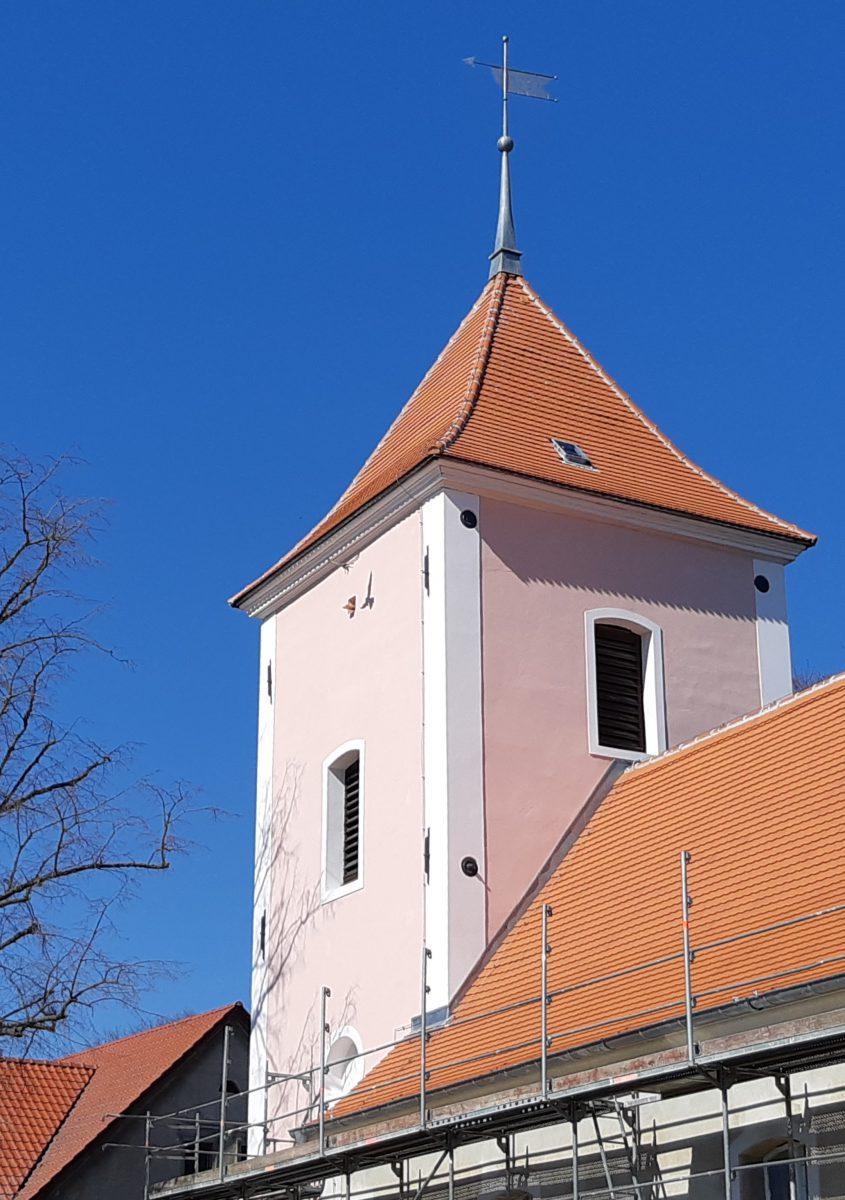 Kirchturm mit anfliegendem Turmfalken